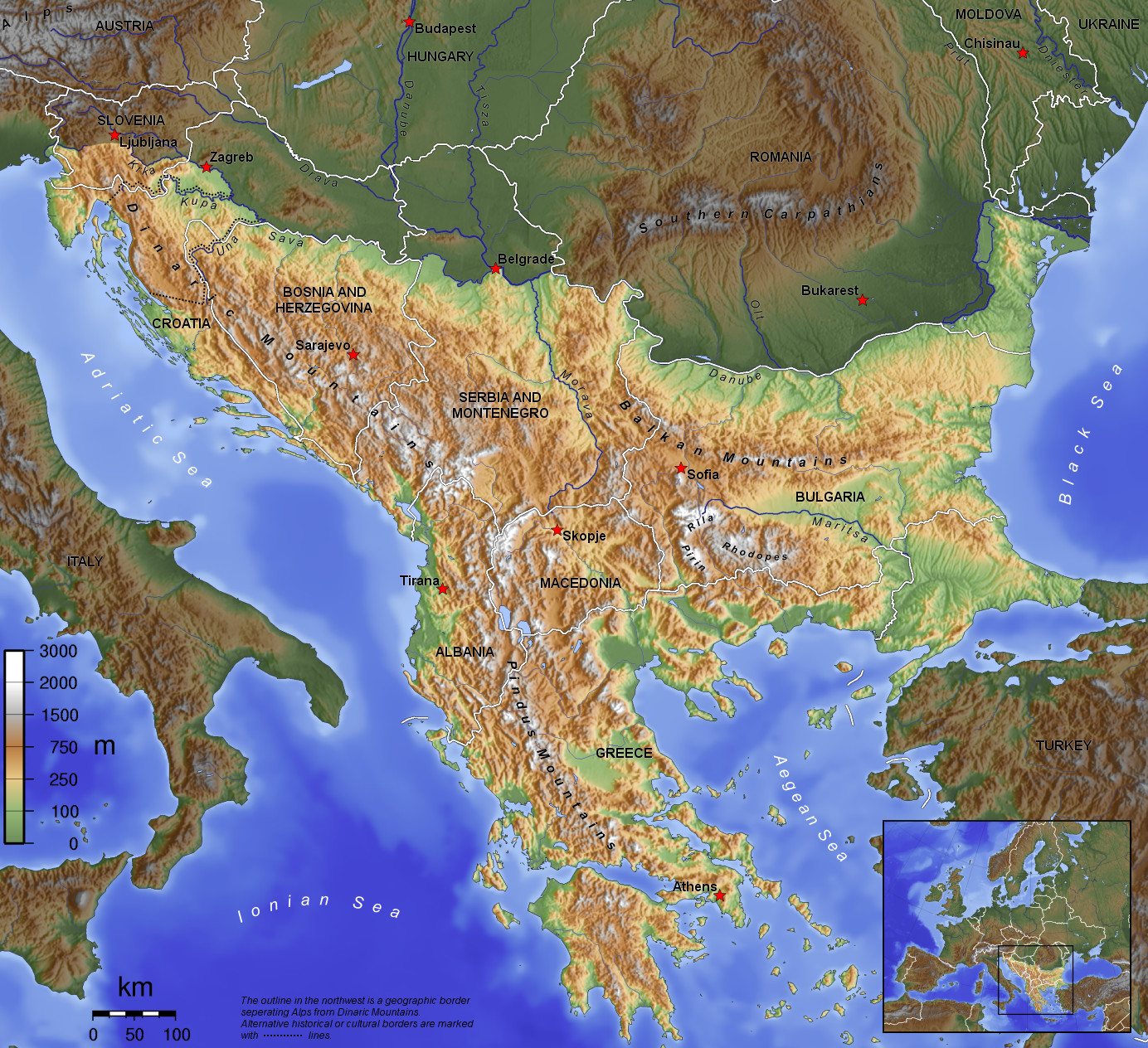 Balkan geographic map