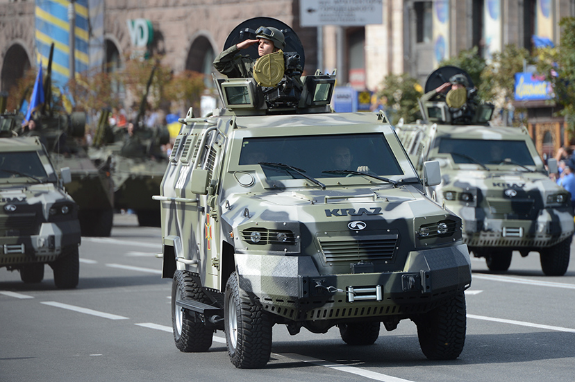August 24 2014 US made Cougar infantry carrier during Ukraine Independence Day in Kiev