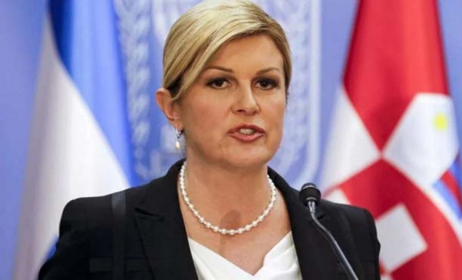 Croatian President Kolinda Grabar Kitarovic Photographed Holding Nazi-Fascist Flag