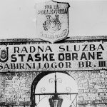 The entrance-gate to the death camp of Jasenovac in Croatia
